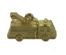 Fire Truck Our Heroes department 3D Gold Plated on real Silver Charm firefighter - $17.82