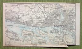 1904 MAP ORIGINAL Baedeker - HAMBURG & Environs Germany - $5.07