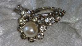 Vintage silver tone pin brooch baroque faux pearl rhinestones galore - $18.00