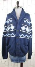 GAP mens XL Shawl Collar Cardigan Sweater Blue Western Cotton Wool Cashmere - $65.00