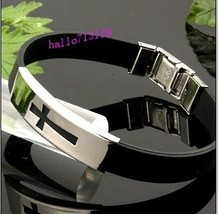 24pcs Black Cross Silicone cuff  Bracelets Stainless Steel plate Wristbands Whol - $38.14
