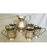 Vintage Brass (Aftaba) Tankard w/ Pitcher Surahi Set, Set of 6 Pieces - $40.00