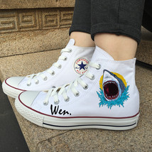 Sea World Shark Shoes Original Design White Canvas Shoes Converse All Star - $119.00
