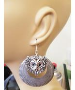 large owl face hoop earrings metal silver hoopd dangles handmade jewelle... - $5.99