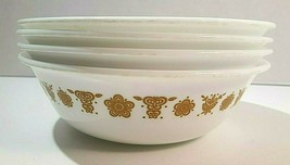 """Corelle Corning Set Of 4 Butterfly Gold White Cereal Bowls 6 1/4"""" Vintage USA - $22.00"""