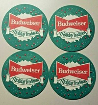 """Vintage 1950s Budweiser Beer Set of 4 Holiday Coaster St. Louis, MO 3.5"""" - $12.99"""