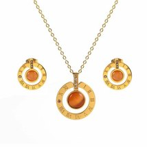 Stainless Steel Jewelry Set for Woman Roman Letter  Gold Plating Earring... - $14.52