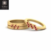Solid 18k Yellow Gold Matching Wedding Ring Set Promise Rings For Couple Jewelry - $1,299.99