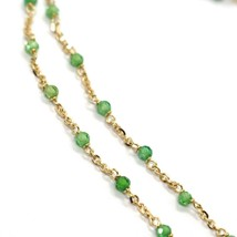 18K YELLOW GOLD NECKLACE, GREEN FACETED CUBIC ZIRCONIA, ROLO CHAIN, 17.7 INCHES image 2