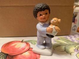 Vintage Homco African American Boy Holding His Teddy Bear Figurine Retired Rare - $17.99