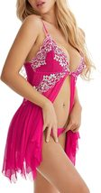 Lingerie for Women Front Closure Babydoll Lace Chemise V Neck Mesh Sleepwear 1 image 6