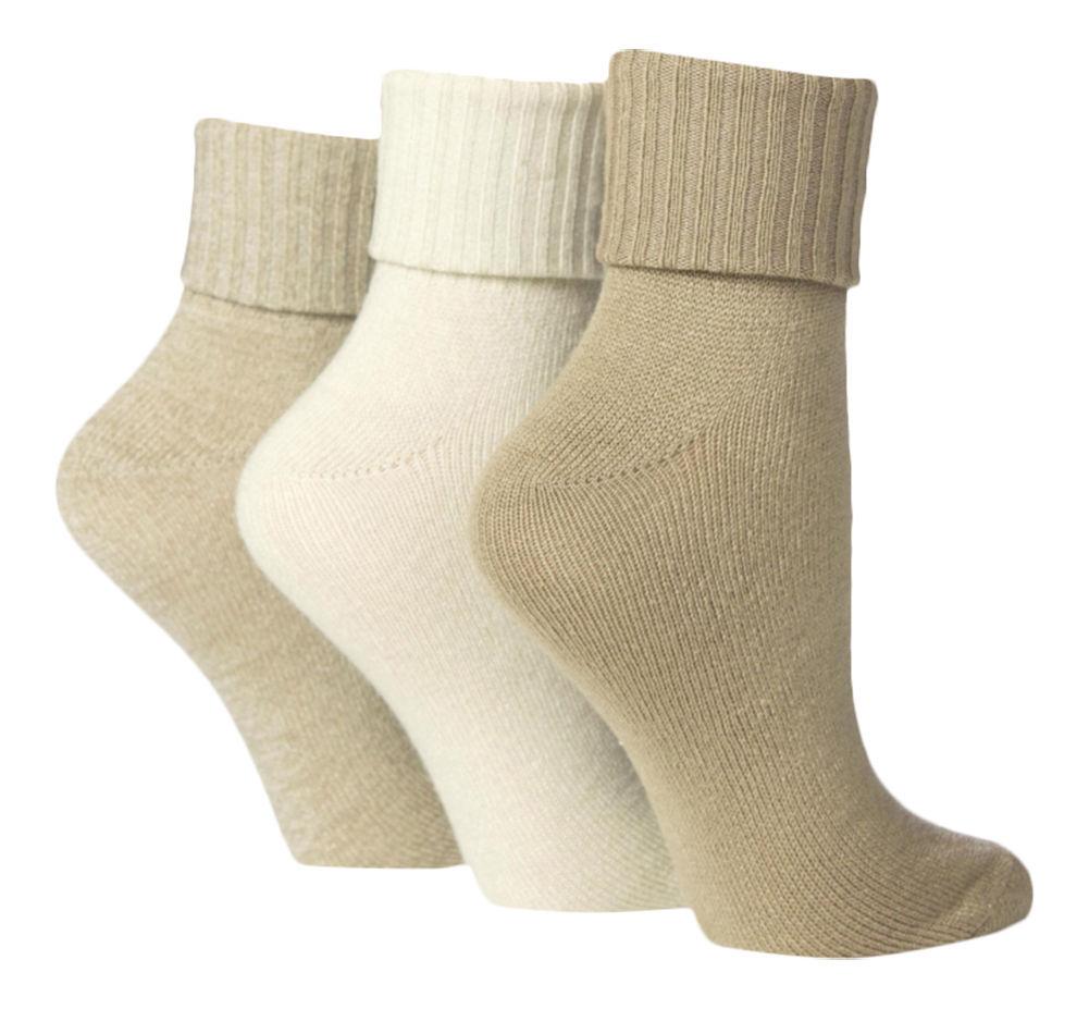 6 Pair Ladies Jennifer Anderton Soft Turn Over Socks 4-8 uk 37-42 Eur Natural