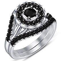Round Cut Black CZ Halo Bridal Wedding Ring Set 14k White Gold Plated 925 Silver - $99.35