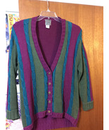 VINTAGE Women's IVY I.V.Y. Hand Knit 5 Button Sweater Purple Green Blue ... - $37.13