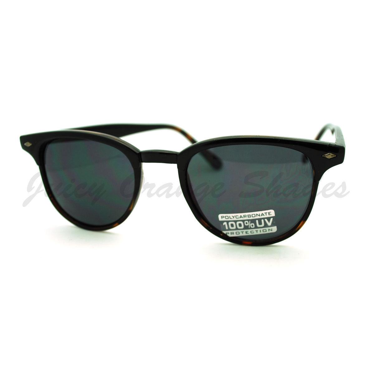 Thin Round Side Horn Rimmed Sunglasses Unisex Vintage Retro