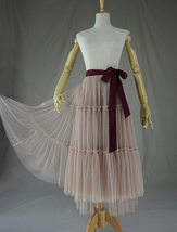 Adult Bridesmaid Tiered Tulle Skirt, Nude Pink Tulle Skirt with Belt,Photo Shoot image 4