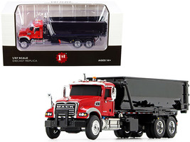 Mack Granite with Tub-Style Roll-Off Container Dump Truck Red and Black 1/87 Die - $57.39