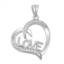 925 Sterling Silver Heart Love Pendant w/ CZ Stones + Cable Link Chain - $29.69