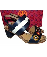 $350 Tory Burch Blue Marguerite Two Bands Sandals Flower Slingbacks 7.5 - $169.00