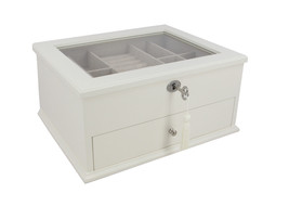 Decorebay New Glass Top Wooden Jewelry Box - White - €48,10 EUR