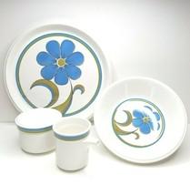 VTG Mikasa Light N Lively Prima D5502 Blue Floral MCM Platter Bowl Cream... - $45.41