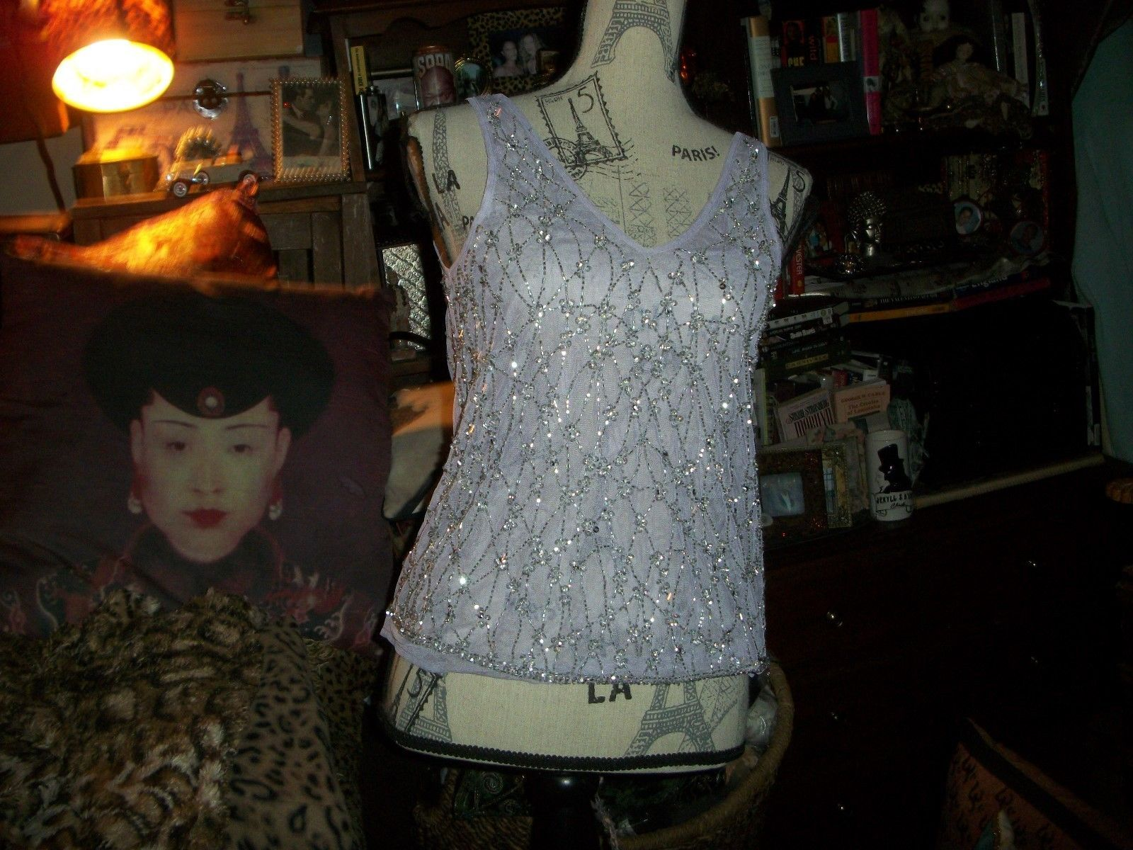 Primary image for TOPSHOP Stunning Soft Pupple Silver Beaded Blouse Size 4