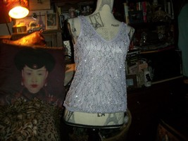 TOPSHOP Stunning Soft Pupple Silver Beaded Blouse Size 4 - $24.75