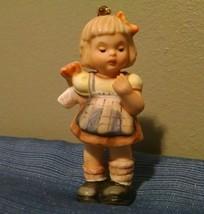 Berta  Hummel Goebel Christmas Ornament A Gift For You 3in Girl Present - $8.59