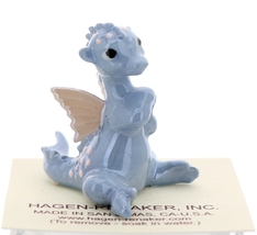 Hagen-Renaker Miniature Ceramic Dragon Figurine Baby Blue with Pink Wings