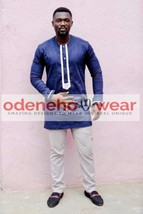 Odeneho Wear Men's  Polished Cotton Top/Bottom  Embroidery. African Clothing. - $128.69+