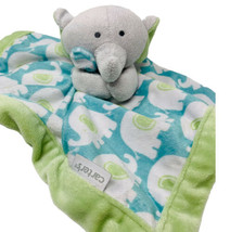Carters Plush Elephant Baby Lovey Security Blanket Blue Green Gray Soft ... - $12.00