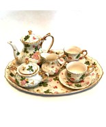 Doll Display Tea Set Porcelain Floral Gold Trim 10 Pieces Tray Sz 9 inch... - $34.64