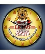 New LIONS DRAG STRIP drag car racing LIGHT UP advertising clock  Free Fa... - $139.95