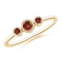 Angara Jewelry Round Natural Garnet Three Stone Ring in Silver/Gold Size... - $126.42+
