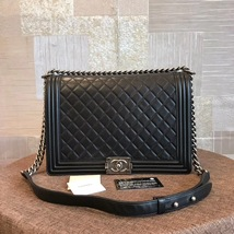 AUTHENTIC CHANEL BLACK QUILTED LAMBSKIN LARGE BOY FLAP BAG RHW image 1