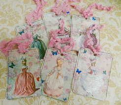 Marie Antoinette Gift tags French Paris Gift Tags Handmade Set 6 - $5.00