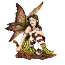 "5.25"" Fairyland Autumn Fairy Elf Sitting on Oak Leaf [9733] - $19.30"
