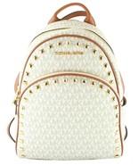 Michael Kors Abbey Backpack Bag Vanilla Acorn Logo Monogram PVC Studded - $464.82
