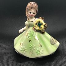 Josef Originals Figurine 1960s Girl Of Month Calendar Japan May Emerald Green - $34.65