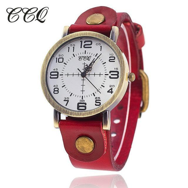 Hot Selling CCQ Vintage Cow Leather Bracelet Watch Women Wrist Watches Casual Lu