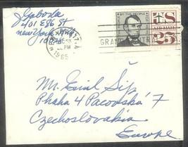 1965 25 cents Lincoln, New York City (Dec 23) to Praha Czechoslovakia - $4.00