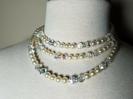 Vintage Fashion Jewelry Set Faux Pearl Clear Bead Necklace & Matching Ea... - $19.70