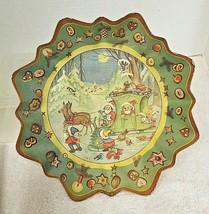 Vintage Pressed Molded Paper Bowl. Cute Forest Elves & Woodland Friends ... - $14.36