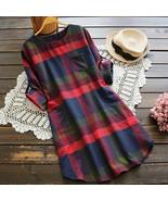 Fahsion Women Dress ELegant Women Ladies Plaid Long Sleeve Loose Pocket Swing Vi - $18.89