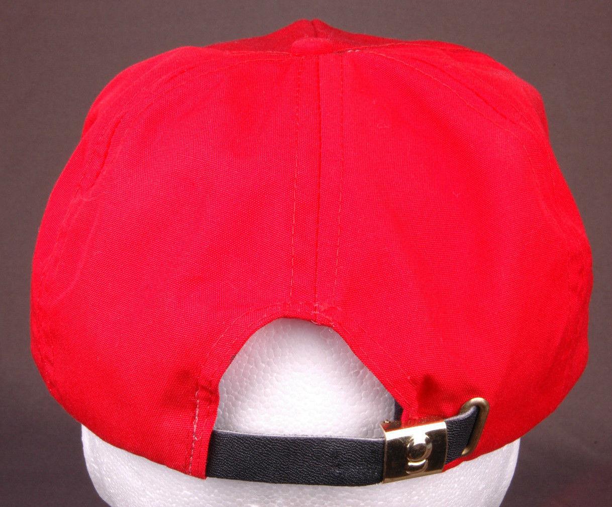 Vtg RANGE OFFICER Hat-Rope Bill-Leather Strapback-Red-Baseball Cap-Star-New
