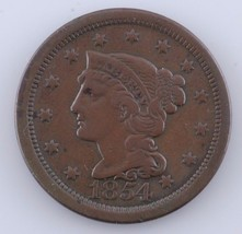 1854 1C Large Cent, Very Fine Condition, All Brown Color, Nice Detail - $39.59