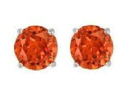 Swarovski Crystal Stud Earrings : Padparadscha in Sterling - $14.99