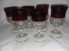 "6 Kings Crown Thumbprint Ruby Wine Goblets Pedestal 3 3/4"" Vintage Flash... - $22.99"