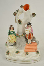 Staffordshire Ceramic Spill Vase Boy Stairs Girl Tree Flowers Antique - $138.20