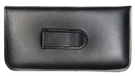 NEW Soft Eyeglasses Glasses Case Pouch Black with CLIP w/Cleaning Cloth ... - $4.16